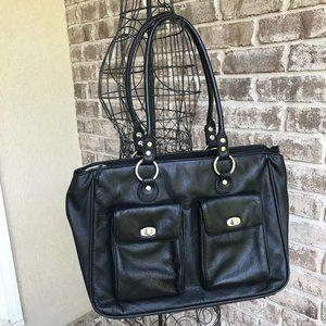 Franklin Cover Black Leather Laptop Bag Travel